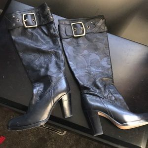 Black signature coach leather boots